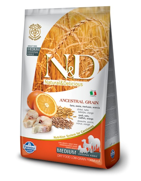Farmina N&D Adult Medium Low Grain cu Cod si Portocala 12kg