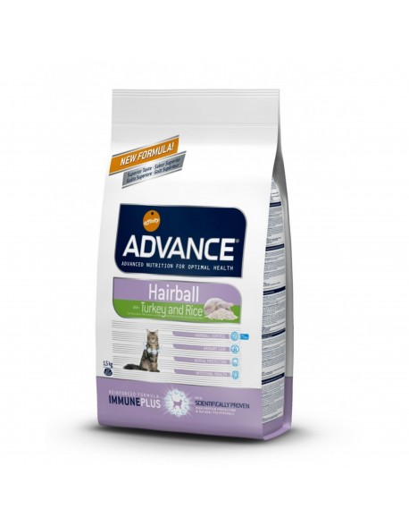 Advance Cat Adult Hairball cu Curcan si Orez 1,5kg